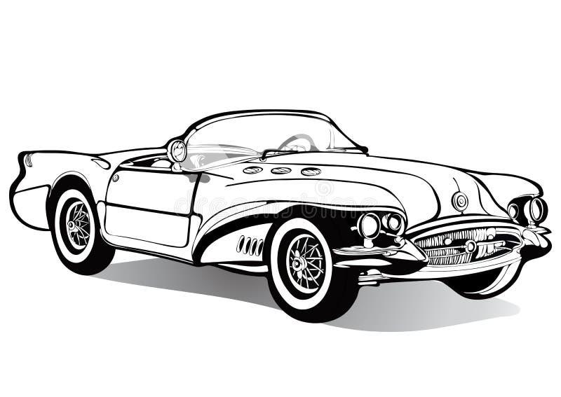Rocznika samochodowy kabriolet roofless, nakreślenie, kolorystyki książka, czarny i biały rysunek, monochrom Retro kreskówka tran ilustracja wektor