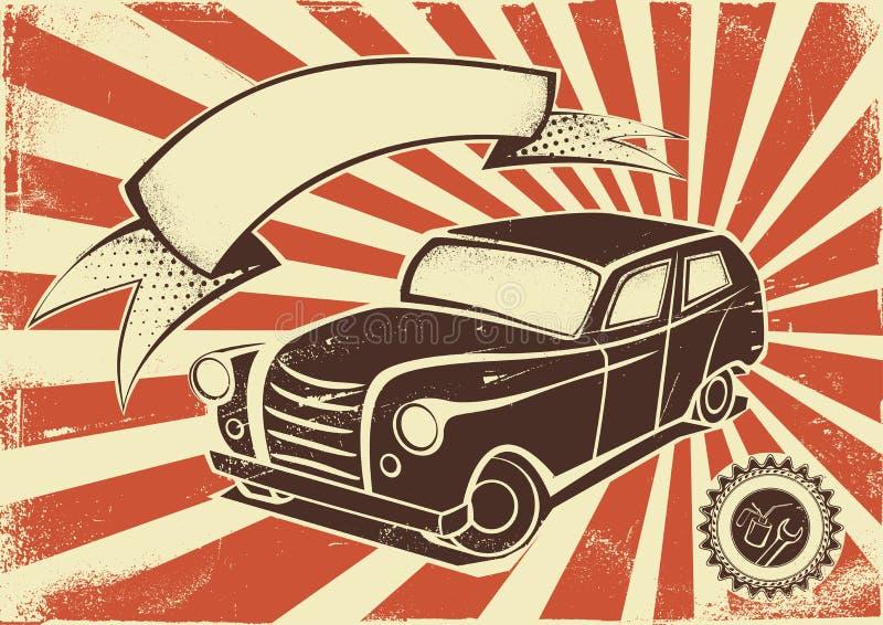 Rocznika samochodowy plakatowy szablon royalty ilustracja