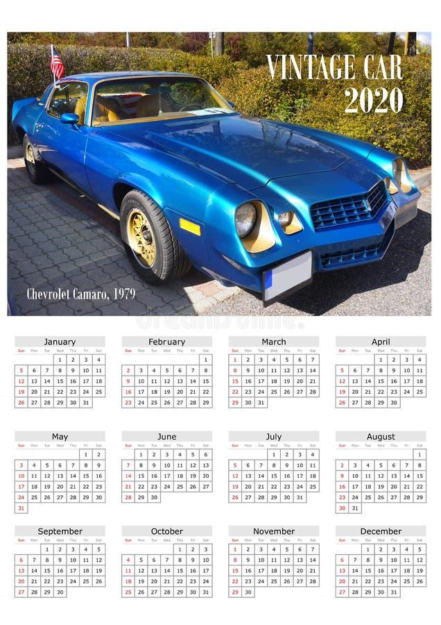 Rocznika samochodu kalendarza plakat 2020 zdjęcia royalty free
