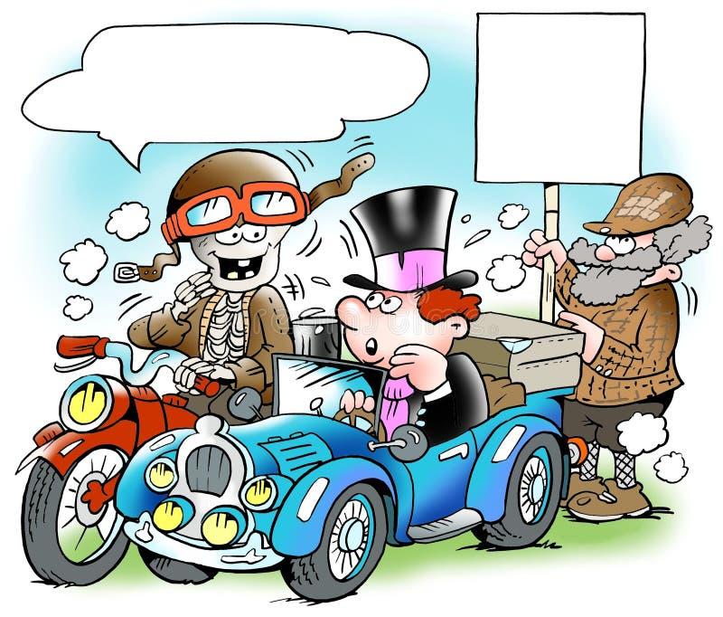Rocznika samochodu wiec ilustracja wektor