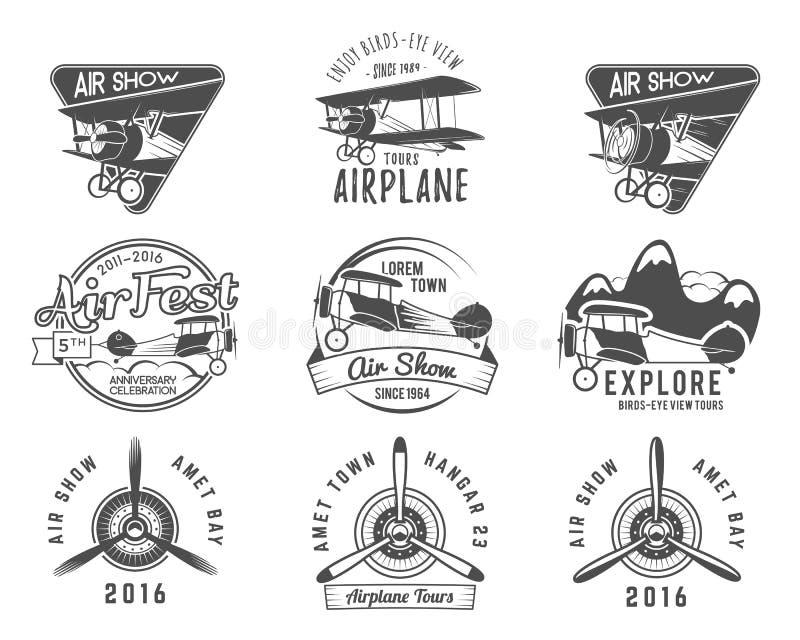 Rocznika samolotu emblematy Biplan etykietki Retro Płaskie odznaki, projektów elementy Lotnictwo znaczków kolekcja Airshow logo ilustracja wektor