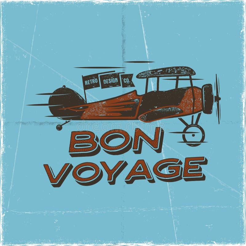 Rocznika samolotu plakat Bon podróży wycena Biplan wektorowej grafiki etykietka, emblemat Retro Płaski odznaka projekt Lotnictwo royalty ilustracja