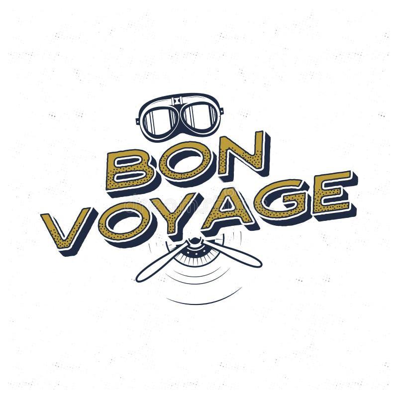 Rocznika samolotu plakat Bon podróży wycena z retro pilotów maskowymi i śmigłowymi symbolami Graficzna etykietka, emblemat Samolo ilustracja wektor