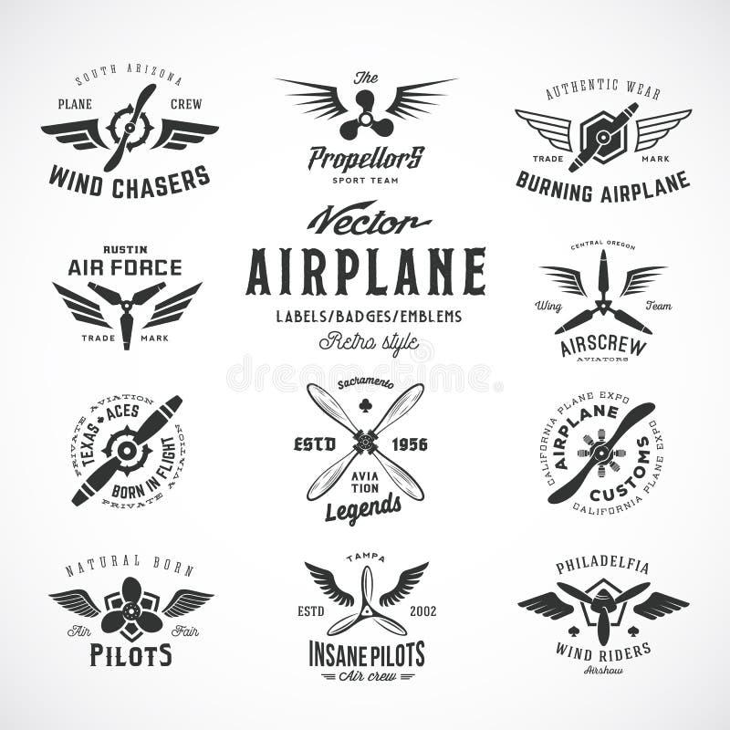 Rocznika samolotu Wektorowe etykietki Ustawiać z Retro typografią odosobniony ilustracji