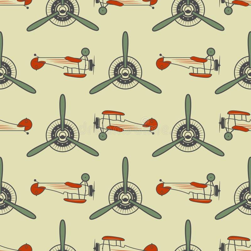 Rocznika samolotu wzór Z Starymi biplanami, śmigłowymi elementami i symbolami, ilustracji