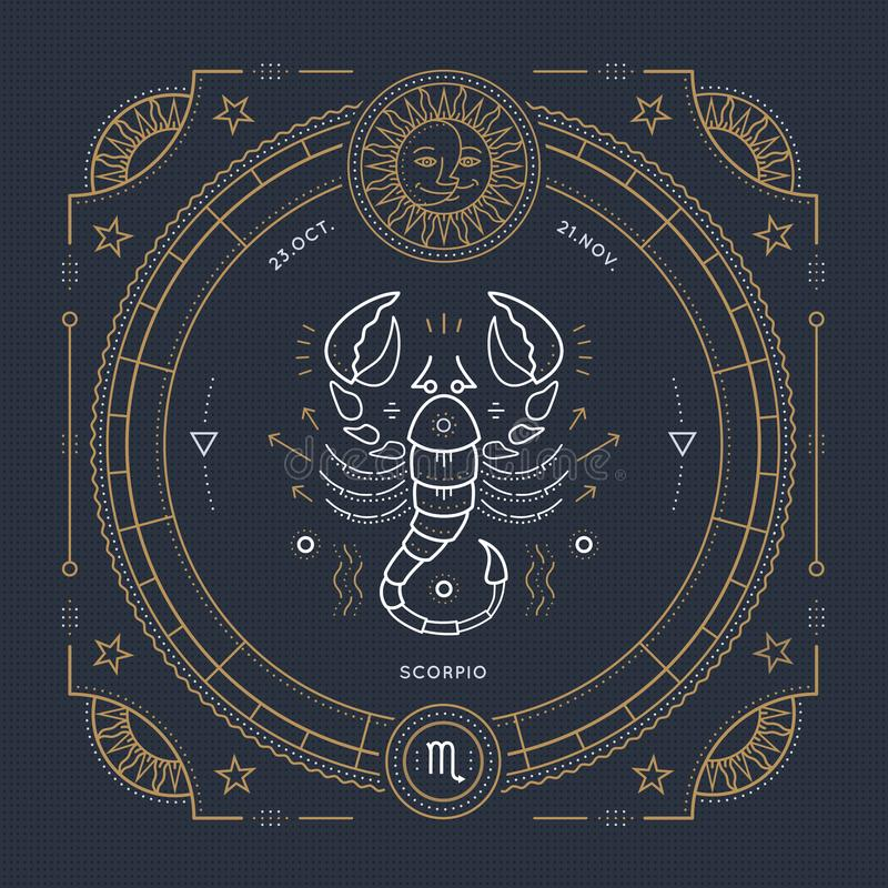 Rocznika Scorpio zodiaka znaka cienka kreskowa etykietka Retro wektorowy astrologiczny symbol, mistyczka, święty geometria elemen royalty ilustracja