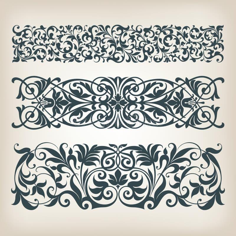 Rocznika setu granicy ramy ślimacznicy kaligrafii ozdobny wektor