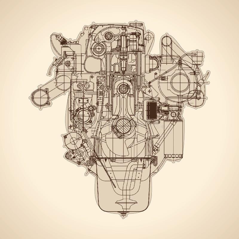 Rocznika silnik, stary obrazek wektor royalty ilustracja