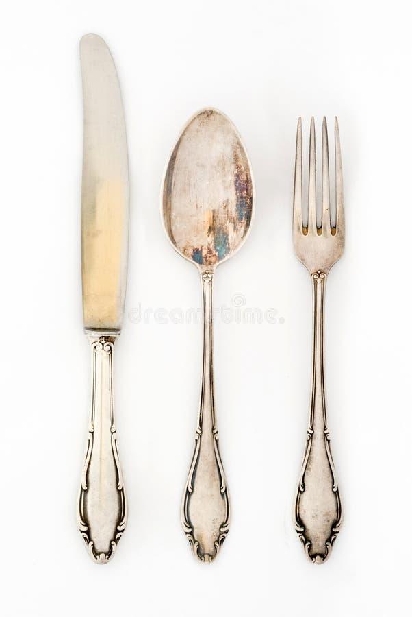 Rocznika silverware set fotografia royalty free