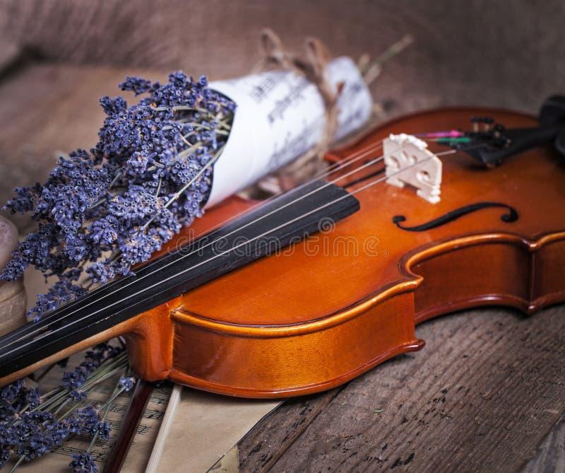 Rocznika skład z skrzypce i lawendą zdjęcia stock