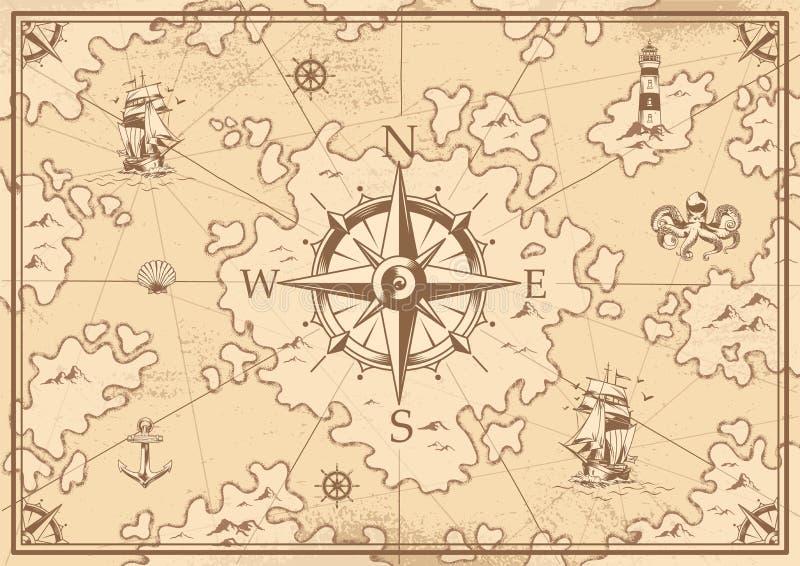 Rocznika skarbu mapy monochromatyczny pojęcie ilustracji