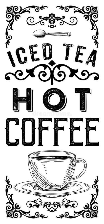 Rocznika sklep z kawą Herbacianego domu sztandaru Nadokienni projekty ilustracja wektor