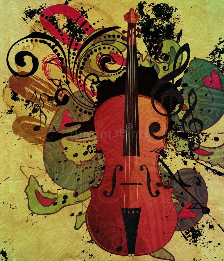 Rocznika Skrzypcowy Muzyczny tło royalty ilustracja