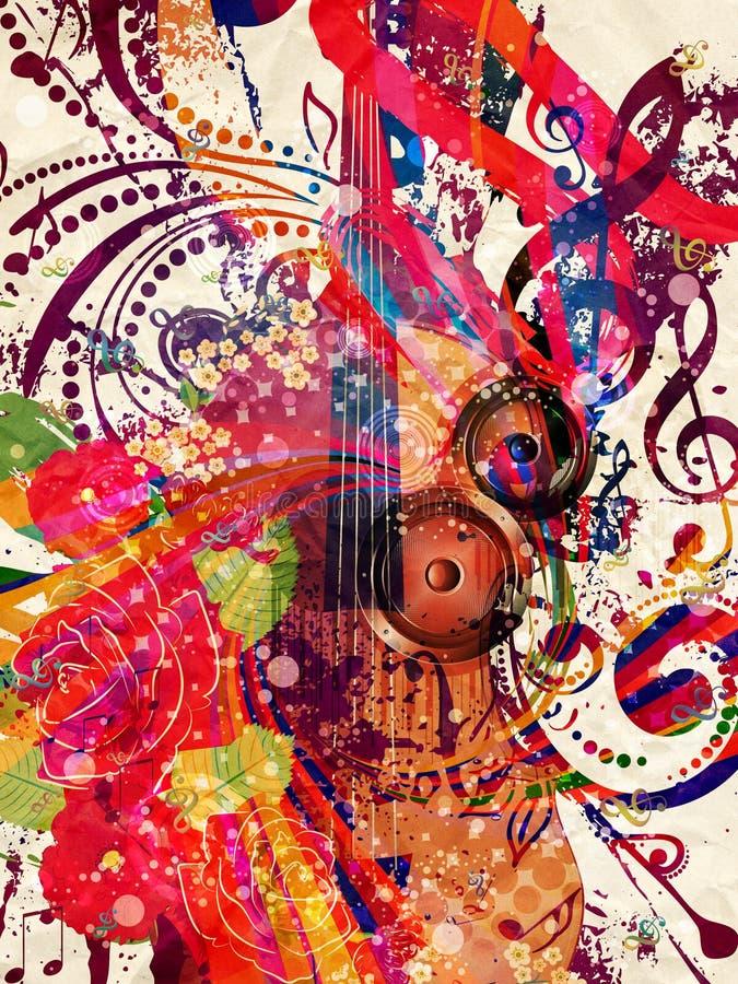 Rocznika Skrzypcowy Muzyczny tło ilustracja wektor