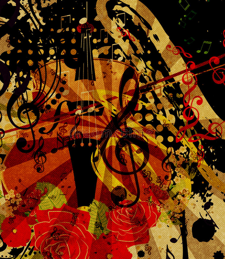 Rocznika Skrzypcowy Muzyczny tło ilustracji