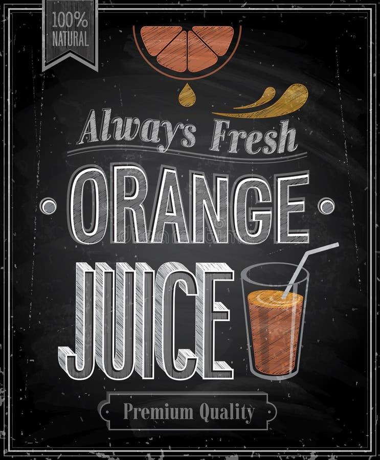 Rocznika sok pomarańczowy - Chalkboard. ilustracja wektor