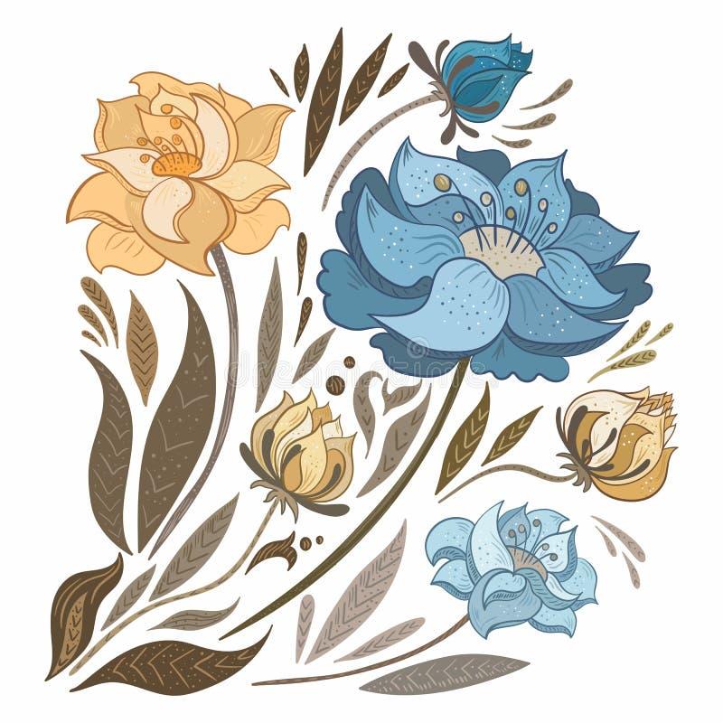 Rocznika spadku kwiaty Ustawiający royalty ilustracja