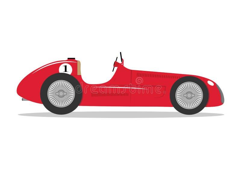 Rocznika sporta bieżnego samochodu płaskiej formuły pojazdu samochodu wektorowa ilustracja royalty ilustracja