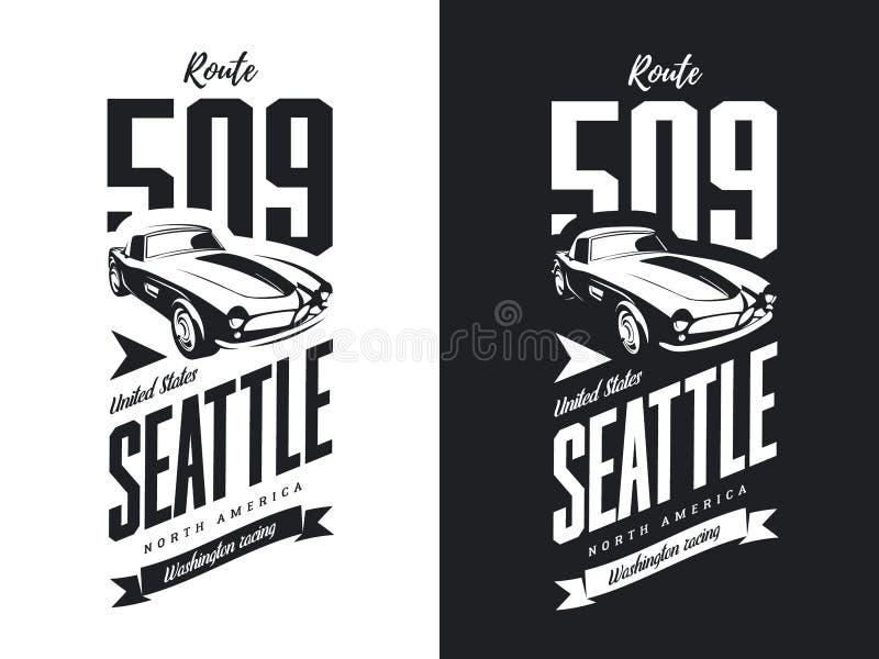 Rocznika sporta pojazdu czarny i biały odosobniony wektorowy logo ilustracja wektor