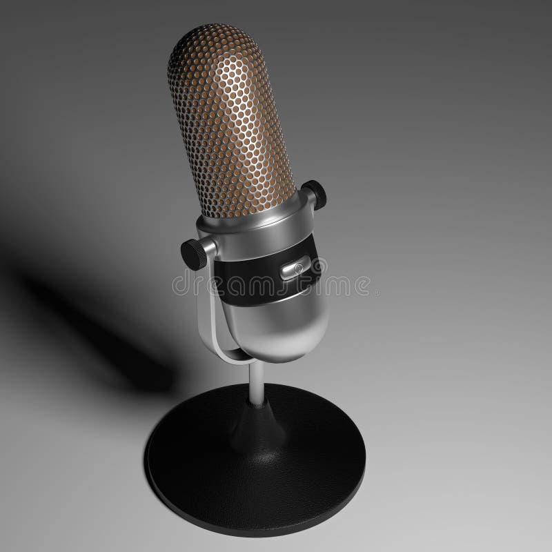 Rocznika srebny mikrofon na popielatym gradientowym tle 3d odpłaca się ilustracji