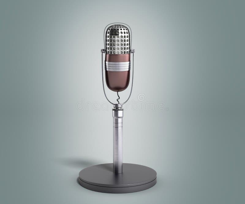 Rocznika srebny mikrofon na popielatym gradientowym tle 3d odpłaca się ilustracja wektor