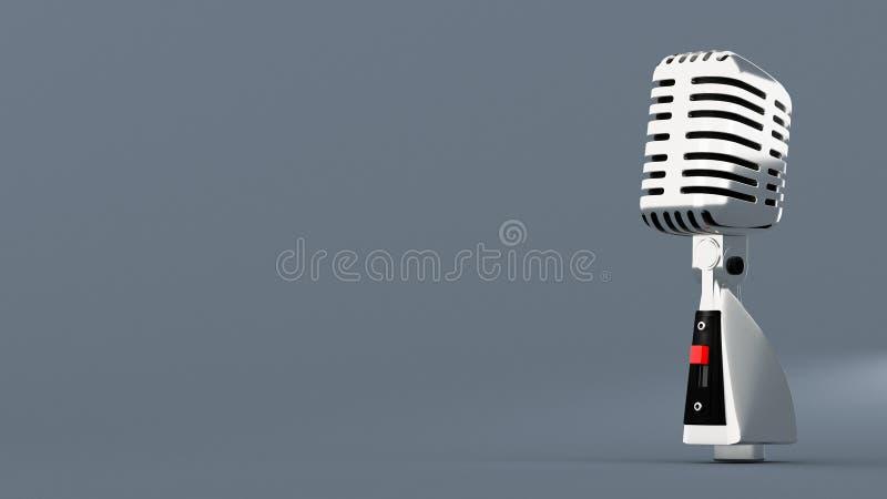 Rocznika srebny retro mikrofon na popielatym tle ilustracja wektor