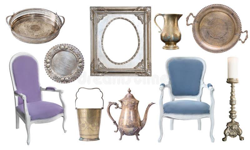 Rocznika srebro rozwidla, łyżki, noże, czajnik, talerze, kopyść i obraz stock