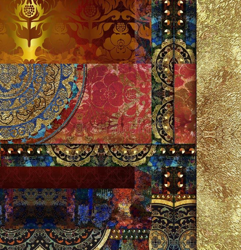 Rocznika starego kwiecistego wzorzystego tła barwiona mozaika zdjęcia royalty free