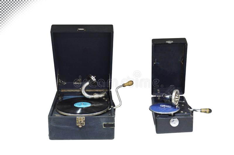 Rocznika stary gramofon na białym i przejrzystym tle zdjęcie royalty free