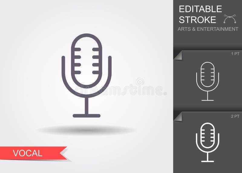Rocznika stary mikrofon Kreskowa ikona z cieniem i editable uderzeniem ilustracja wektor