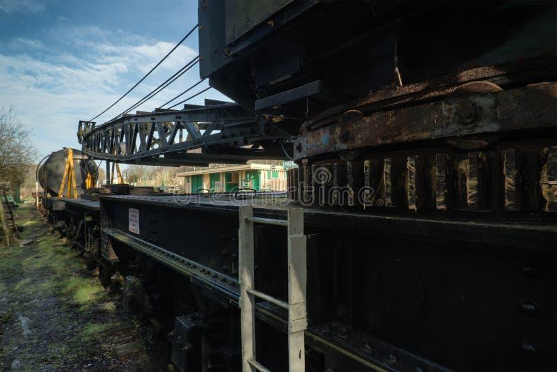 Rocznika stary taborowy lokomotoryczny dźwigowy wyposażenie fotografia stock