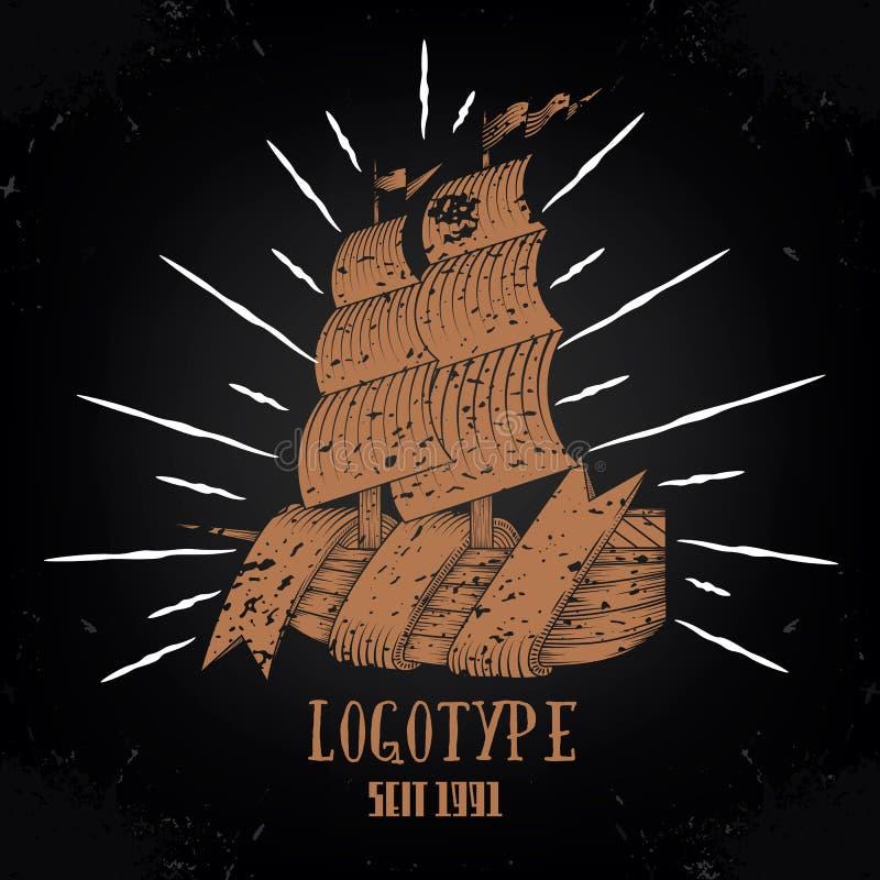 Rocznika statku logotyp ilustracji