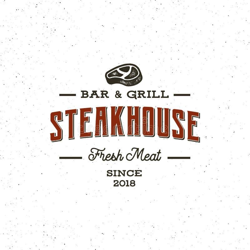 Rocznika steakhouse logo retro projektujący grill restauraci emblemat również zwrócić corel ilustracji wektora ilustracji