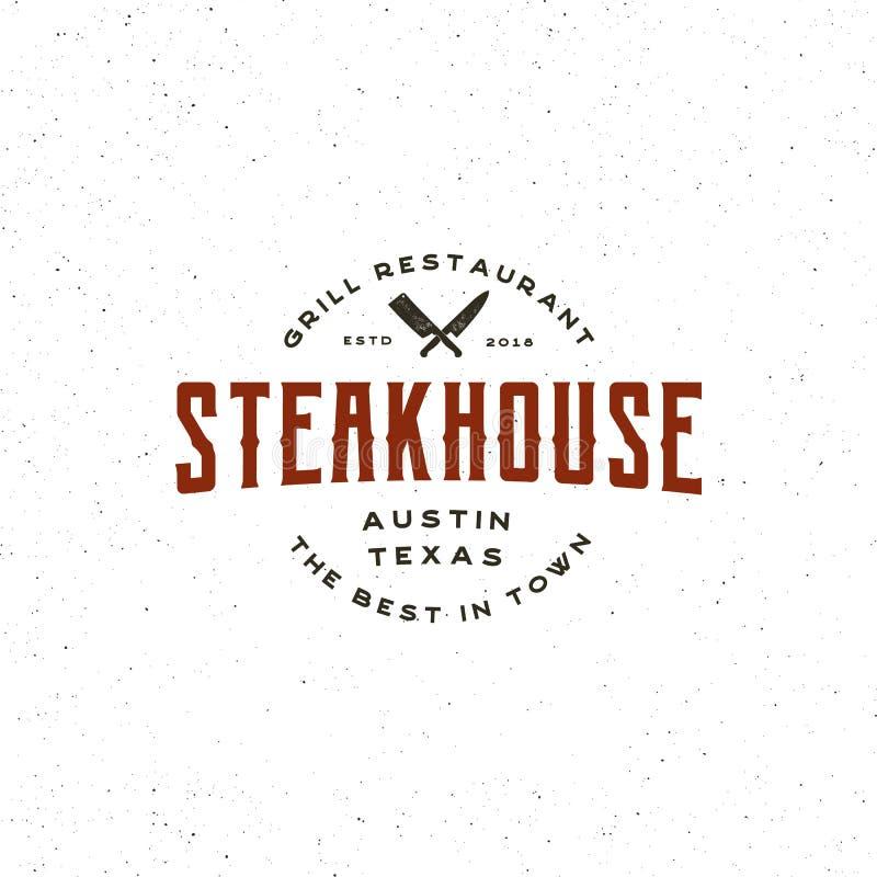 Rocznika steakhouse logo retro projektujący grill restauraci emblemat również zwrócić corel ilustracji wektora royalty ilustracja