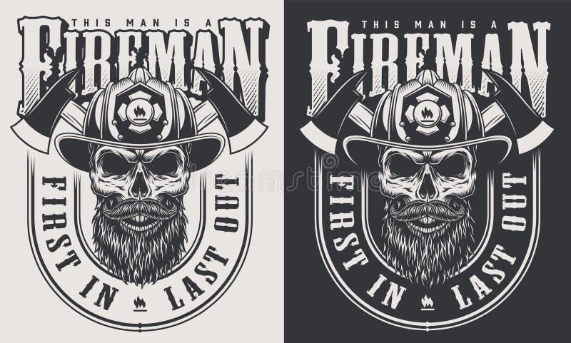 Rocznika strażaka emblematy ilustracja wektor