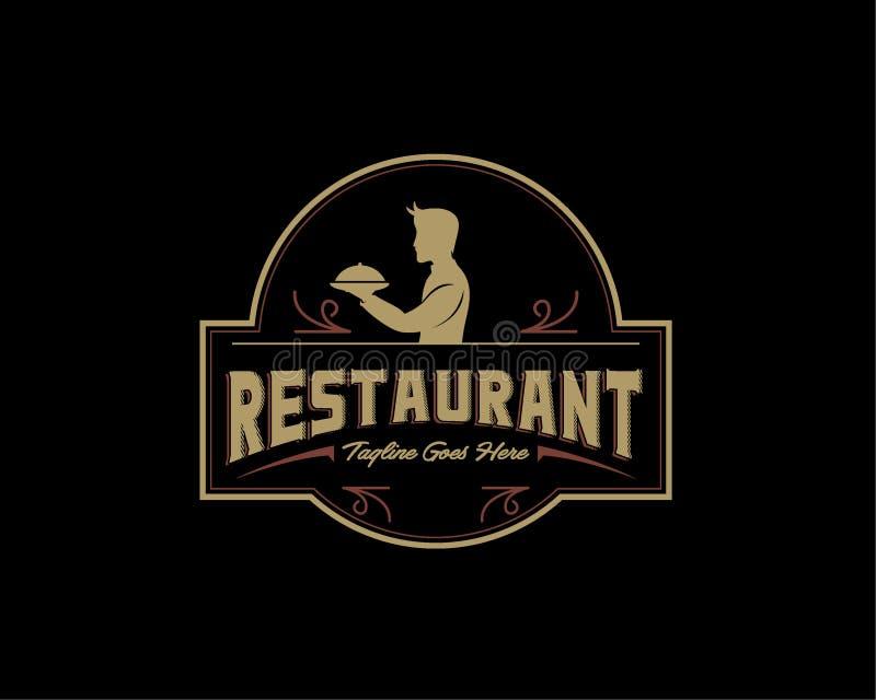 Rocznika styl dla Restauracyjnego logo projekta szablonu ilustracja wektor