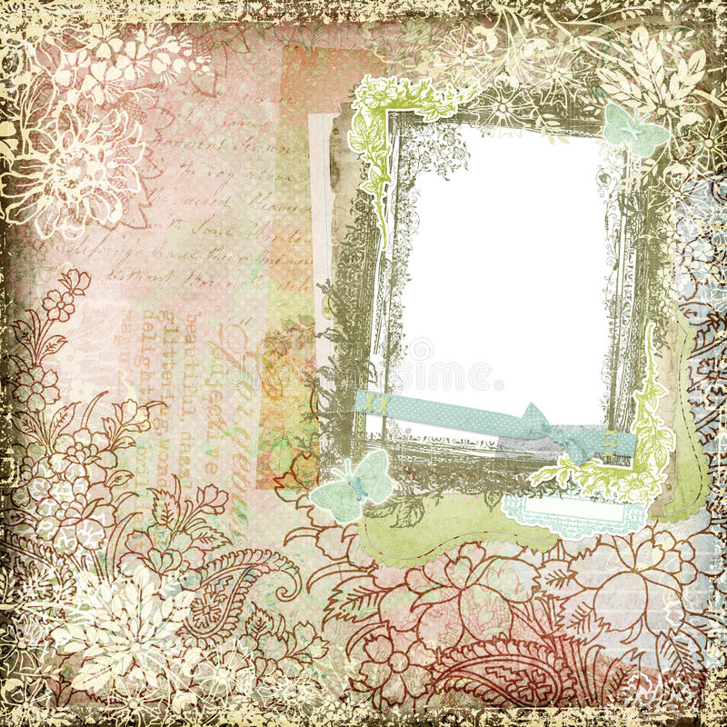 Rocznika Stylowa Botaniczna Kwiecista Tła Rama 3 ilustracja wektor