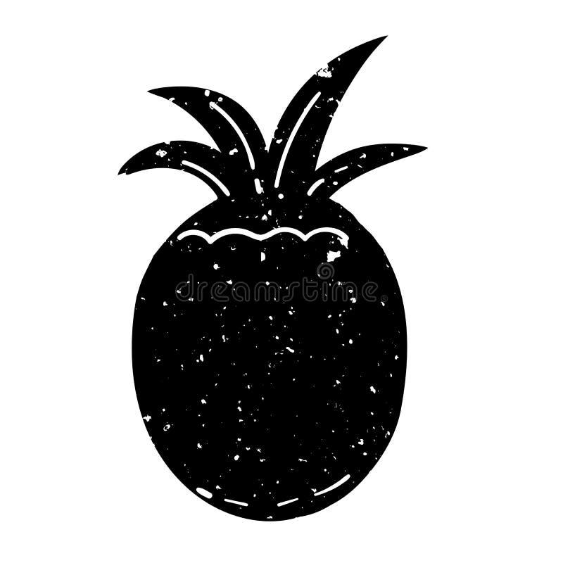 Rocznika stylowego grunge ananasowa czarna sylwetka ilustracja wektor
