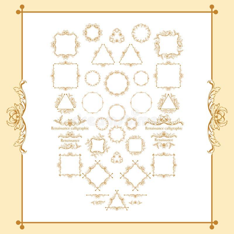 Rocznika stylowy kaligraficzny set granicy, podkreślenia, scrolling elementy, ozdobny headpiece, strona wystrój, dividers, książk royalty ilustracja