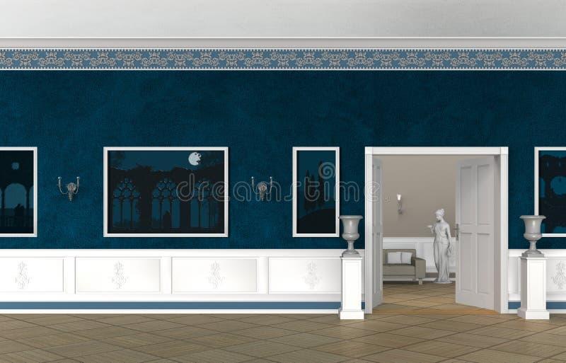 Rocznika stylowy wnętrze willa, kasztel, muzeum lub galeria, ilustracji