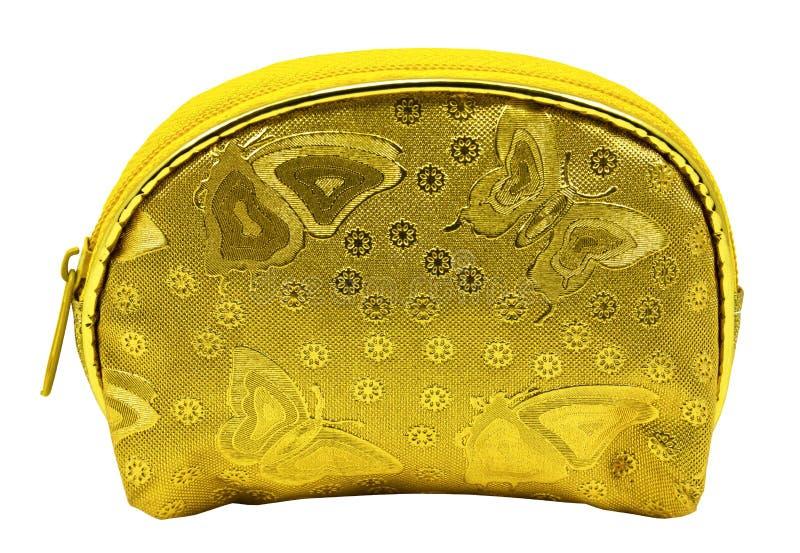 Rocznika stylowy złoty portfel dla damy na białym tle zdjęcie royalty free