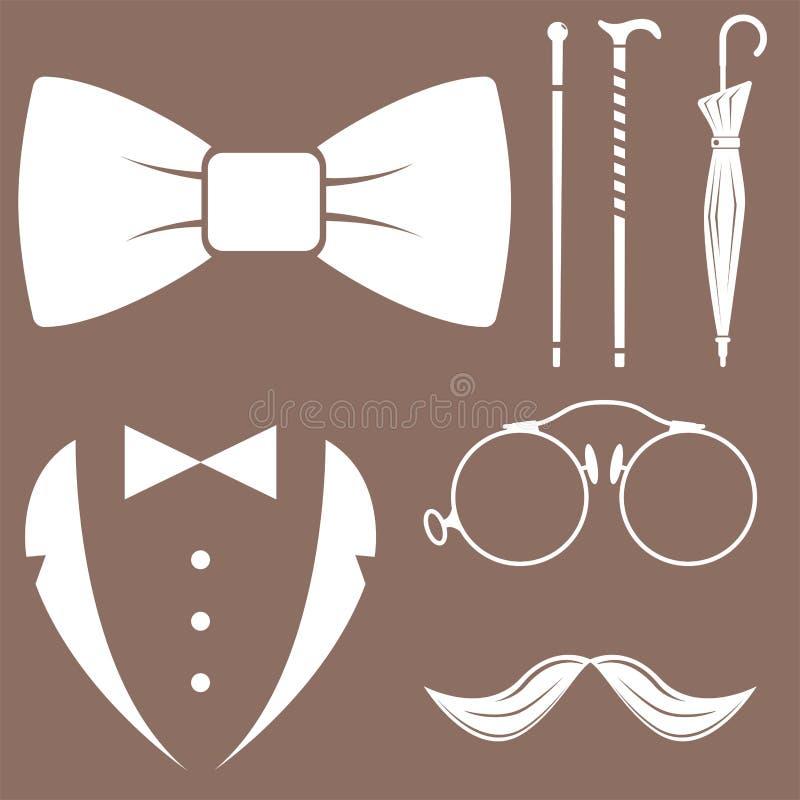 Rocznika stylu projekta modnisia dżentelmenu sylwetki projekta wąsy wektorowy ilustracyjny biały element royalty ilustracja