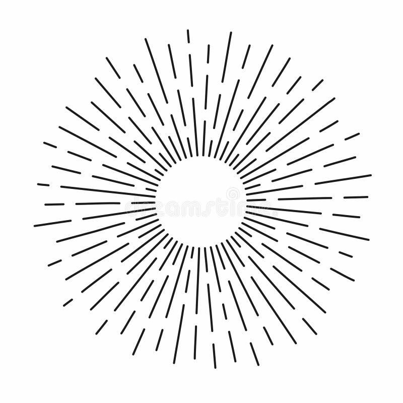 Rocznika sunburst w linia kształcie, liniowego promieniowego wybuchu Retro słońce dla modniś kultury royalty ilustracja
