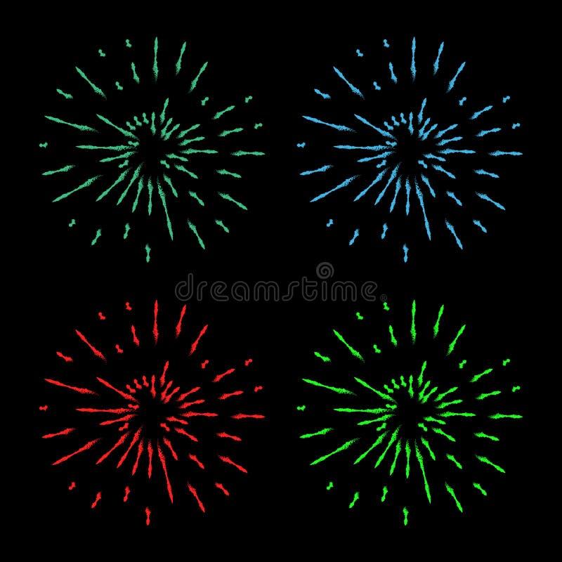 Rocznika Sunburst wybuchu projekta elementu Handdrawn fajerwerki zielenieją, czerwień, błękitni promienie royalty ilustracja