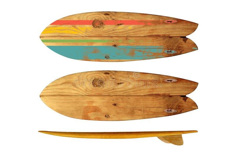 Rocznika Surfboard odizolowywający na bielu obrazy stock