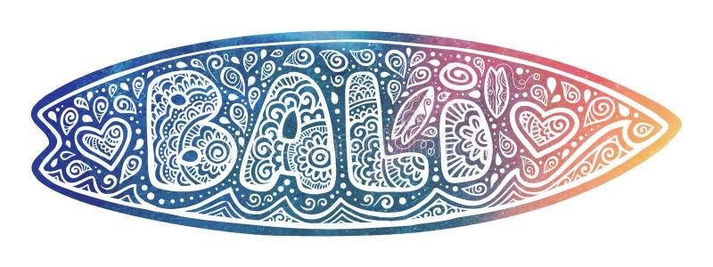 Rocznika surfingu deski stylowa wektorowa sylwetka z znakiem, sercami i fala biała ręka rysującymi doodle Bali, ilustracji