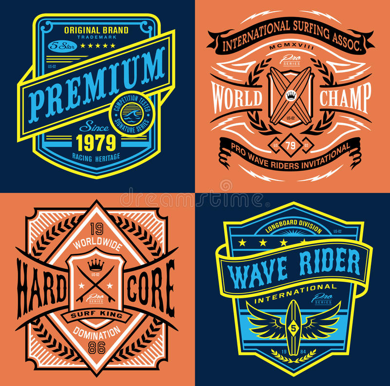 Rocznika surfingu emblemata koszulki grafika ilustracji