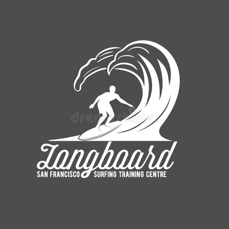 Rocznika surfingu etykietka, odznaka i emblematy, ilustracji