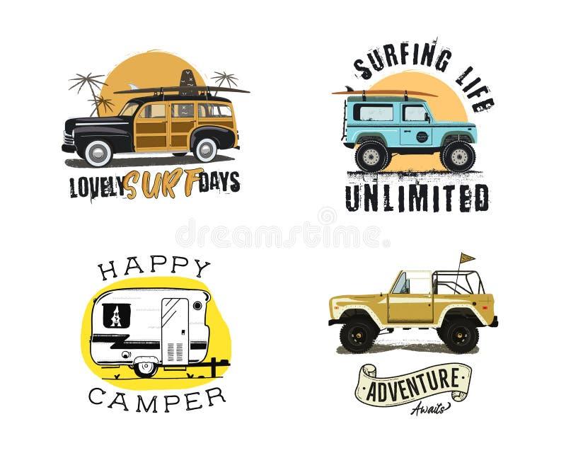 Rocznika surfingu grafika i emblematy ustawiający dla sieć druku lub projekta Surfingowa loga szablony Kipieli odznaki błękitny c ilustracji
