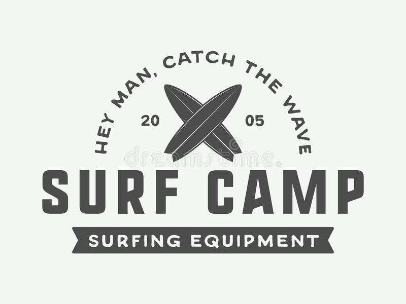 Rocznika surfingu logo, emblemat, odznaka, etykietka, ocena royalty ilustracja